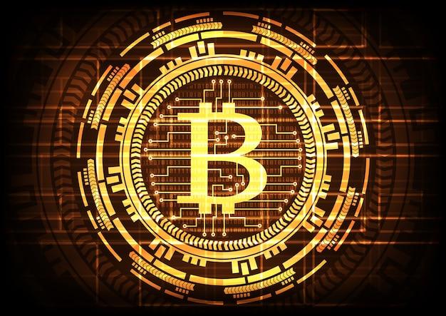 Abstrakcjonistyczni technologii bitcoins na złocistym tle.