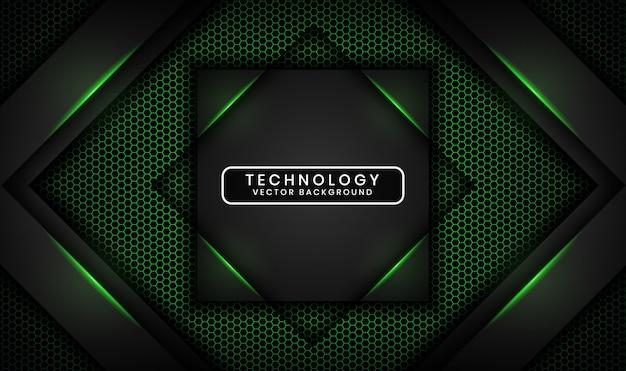 Abstrakcjonistyczny 3d czerni technologii tło z sześciokątem textured, pokrywa się warstwę z zielonego światła skutka dekoracją