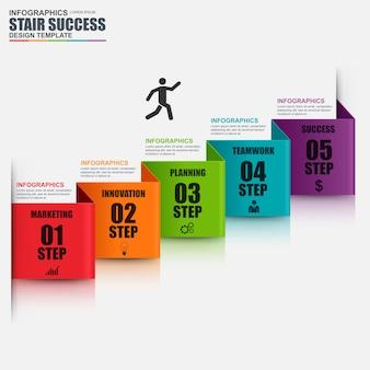 Abstrakcjonistyczny 3d kroka biznesowy schodowy sukces infographic