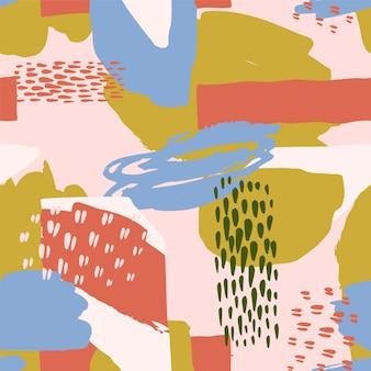 Abstrakcjonistyczny artystyczny bezszwowy wzór z modnymi ręki rysować teksturami