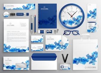 Abstrakcjonistyczny błękitny biznesowy zabezpieczenie ustawia projekt