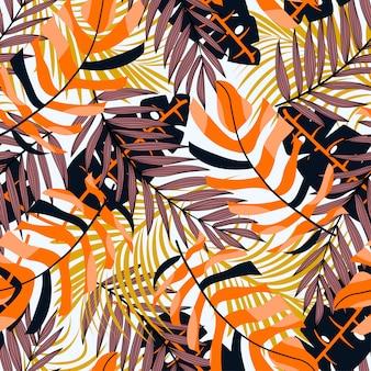 Abstrakcjonistyczny bezszwowy tropikalny wzór z roślinami i liśćmi. egzotyczne tapety.