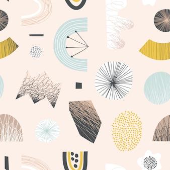 Abstrakcjonistyczny bezszwowy wzór z kolorowymi kształtami