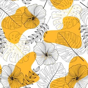 Abstrakcjonistyczny bezszwowy wzór z liśćmi i kwiatami