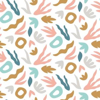 Abstrakcjonistyczny bezszwowy wzór z ręka rysującymi liśćmi i kształtami.