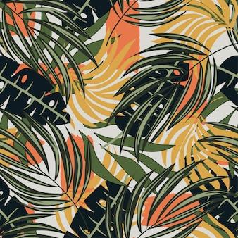 Abstrakcjonistyczny bezszwowy wzór z tropikalną kwiecistą roślinnością