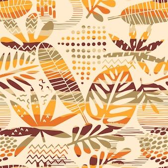 Abstrakcjonistyczny bezszwowy wzór z tropikalnymi liśćmi. ręcznie rysować teksturę.