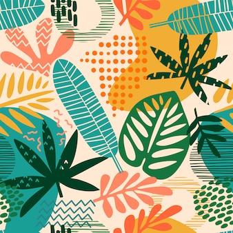 Abstrakcjonistyczny bezszwowy wzór z tropikalnymi liśćmi