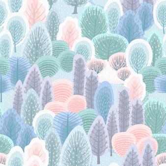 Abstrakcjonistyczny bezszwowy wzór z zima lasem. tło