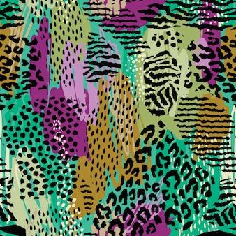Abstrakcjonistyczny bezszwowy wzór z zwierzęcym drukiem.