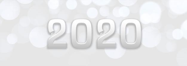Abstrakcjonistyczny biały bokeh nowego roku 2020 sztandar