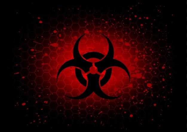 Abstrakcjonistyczny biohazard symbolu zmrok - czerwony tło