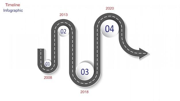 Abstrakcjonistyczny biznesowy infographics w postaci samochodowej drogi z ocechowaniami, markierami, ikonami i tekstem drogowymi ,.