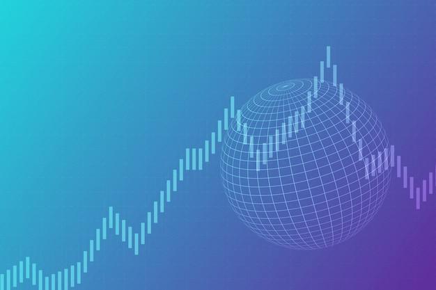 Abstrakcjonistyczny biznesu i kuli ziemskiej tło. analiza wykresów i światowe rynki finansowe