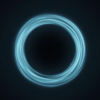 Abstrakcjonistyczny błękita pierścionek wirować neonowe linie na czerni