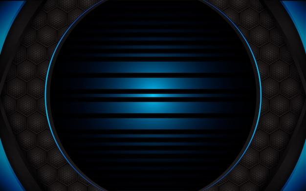 Abstrakcjonistyczny błękita światło na sześciokąta zmroku tle