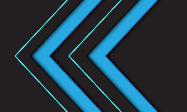 Abstrakcjonistyczny błękitny bliźniaczy strzałkowaty kierunku symbol na ciemnym tle.