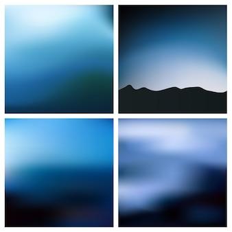 Abstrakcjonistyczny błękitny czarny zamazany tło set. kwadrat rozmyte tło zestaw - niebo chmury morze ocean plaża kolory