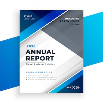 Abstrakcjonistyczny błękitny nowożytny biznesowy sprawozdanie roczne