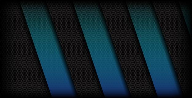 Abstrakcjonistyczny błękitny sześciokąt kształtuje ciemnego tło