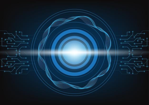 Abstrakcjonistyczny błękitny technologii tło z okrąg techniką