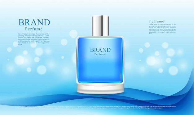 Abstrakcjonistyczny błękitny tła i bokeh światła dla perfum