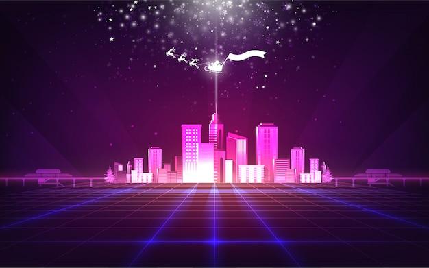 Abstrakcjonistyczny bożego narodzenia tło z purpurowym neonowym siatki miastem