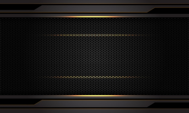 Abstrakcjonistyczny ciemnoszary kruszcowy złota światła czerni sześciokąta siatki wzoru tło.