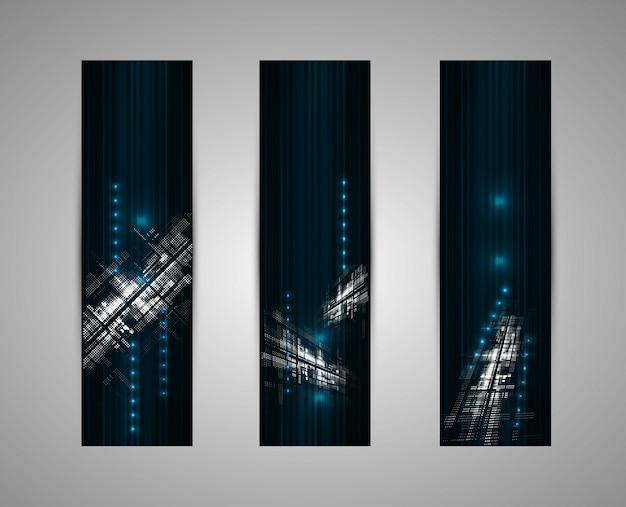 Abstrakcjonistyczny ciemny futurystyczny blaknie technologii biznesowego pionowo tło