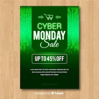 Abstrakcjonistyczny cyber poniedziałku sprzedaży ulotki szablon w zieleni