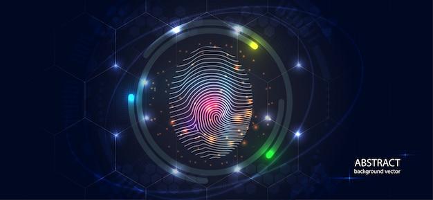 Abstrakcjonistyczny cyfrowy konceptualny odcisk palca technologii bezpieczeństwa tło.