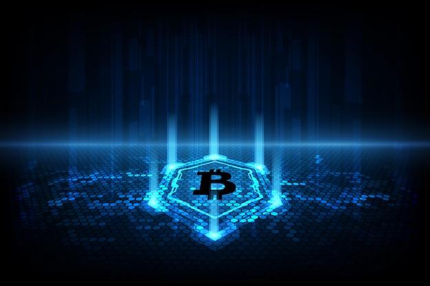 Abstrakcjonistyczny cyfrowy waluty bitcoin z blockchain tłem