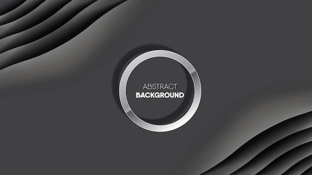Abstrakcjonistyczny czarny gładki jedwabniczej tkaniny tło z okrąg ramą.