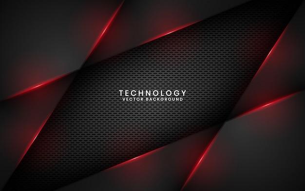 Abstrakcjonistyczny czarny kruszcowy technologii tło z czerwone światło skutkiem na ciemnej przestrzeni