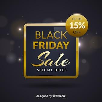Abstrakcjonistyczny czarny piątek sprzedaży tło w czerni i złocie