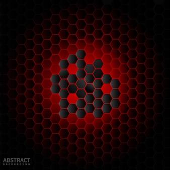 Abstrakcjonistyczny czarny sześciokąt nowożytny na czerwonym neonowym tle.