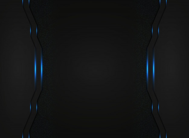 Abstrakcjonistyczny czarny technologia szablon z błękitnym światłem błyszczy tło.