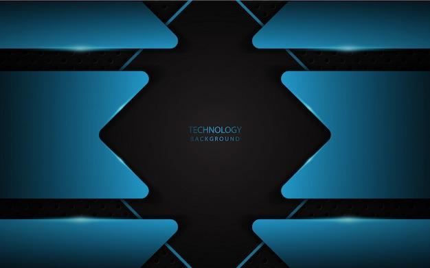 Abstrakcjonistyczny czarny technologii tło z błękita światłem