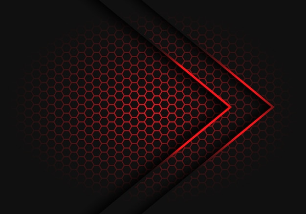 Abstrakcjonistyczny czerwony strzała światła cienia kierunek na sześciokąt siatki wzoru projekta tła wektoru nowożytnej futurystycznej ilustraci.