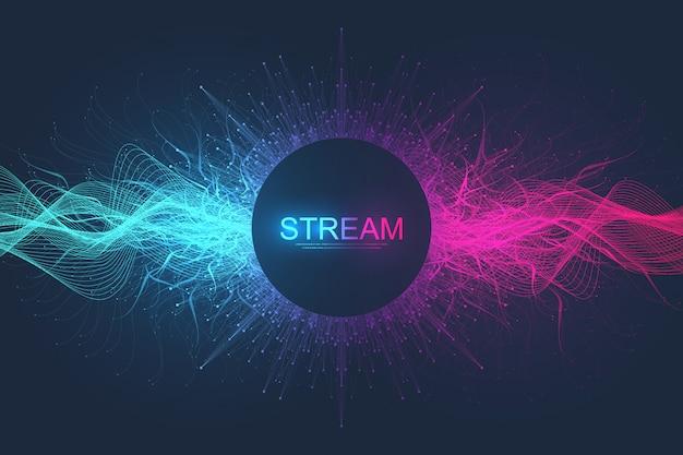 Abstrakcjonistyczny dynamiczny ruch wykłada tło i kropkuje z kolorowymi cząsteczkami. cyfrowe przesyłanie strumieniowe tła, przepływ fali. tło strumienia splotu. technologia big data, ilustracja