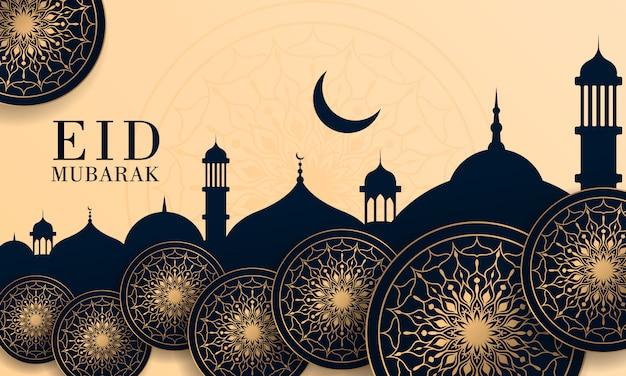 Abstrakcjonistyczny eid mubarak festiwalu świętowania tło z mandala