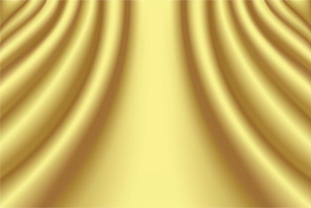 Abstrakcjonistyczny falisty gładki złocisty jedwabniczej tkaniny zasłony tło