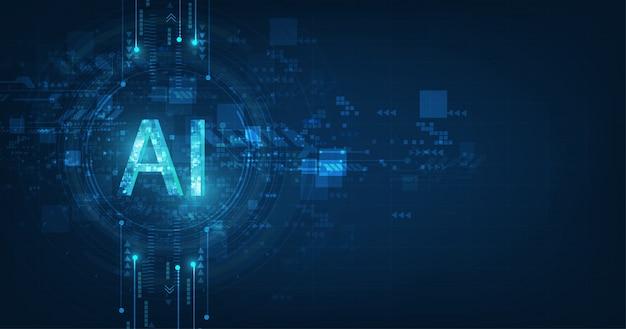 Abstrakcjonistyczny futurystyczny cyfrowy i technologia na zmroku - błękitny koloru tło. brzmienie ai (artificial intelligence) z projektem obwodu.