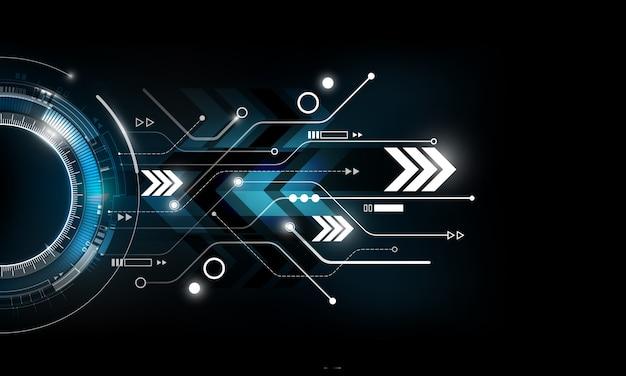 Abstrakcjonistyczny futurystyczny elektronicznego obwodu technologii tła błękitny czerwony pojęcie, ilustracja