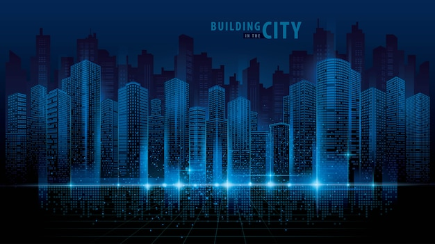 Abstrakcjonistyczny futurystyczny miasto wektor, cyfrowego pejzażu miejskiego tło. przejrzysty krajobraz miasta