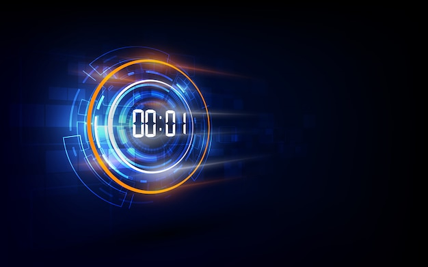 Abstrakcjonistyczny futurystyczny technologii tło z cyfrowego liczby zegaru pojęciem i odliczanie