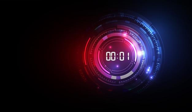 Abstrakcjonistyczny futurystyczny technologii tło z cyfrowego liczby zegaru pojęciem i odliczaniem, wektorowy przejrzysty