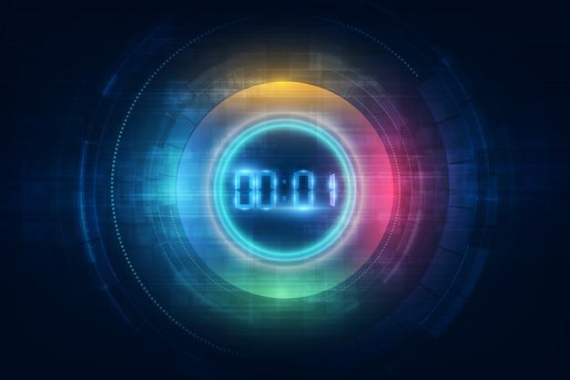 Abstrakcjonistyczny futurystyczny technologii tło z cyfrowego liczby zegaru pojęciem i odliczaniem