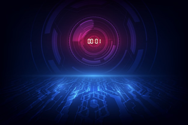 Abstrakcjonistyczny futurystyczny technologii tło z cyfrowego liczby zegaru pojęciem i odliczaniem.