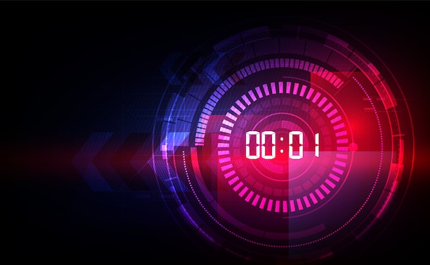 Abstrakcjonistyczny futurystyczny technologii tło z cyfrowym numerowym czasem